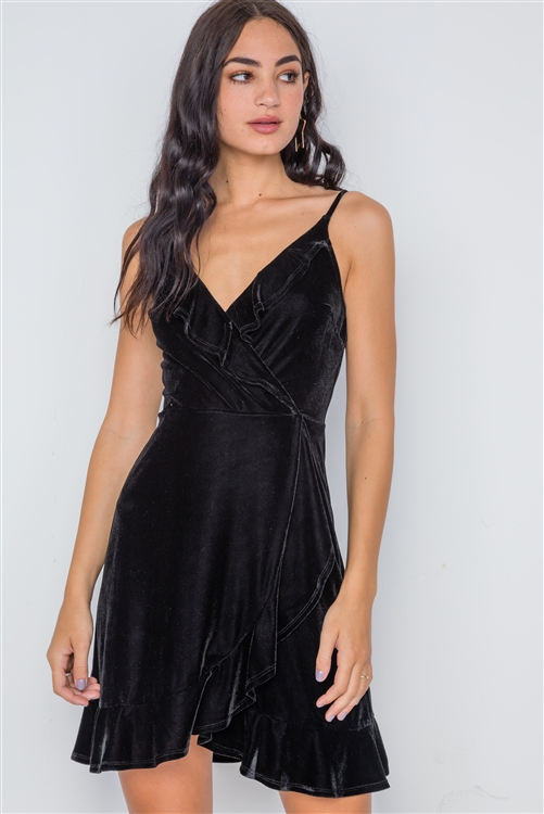 Black Velvet Cami Surplice Neck Ruffle Mini Dress