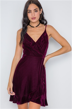 Burgundy Velvet Cami Surplice Neck Ruffle Mini Dress