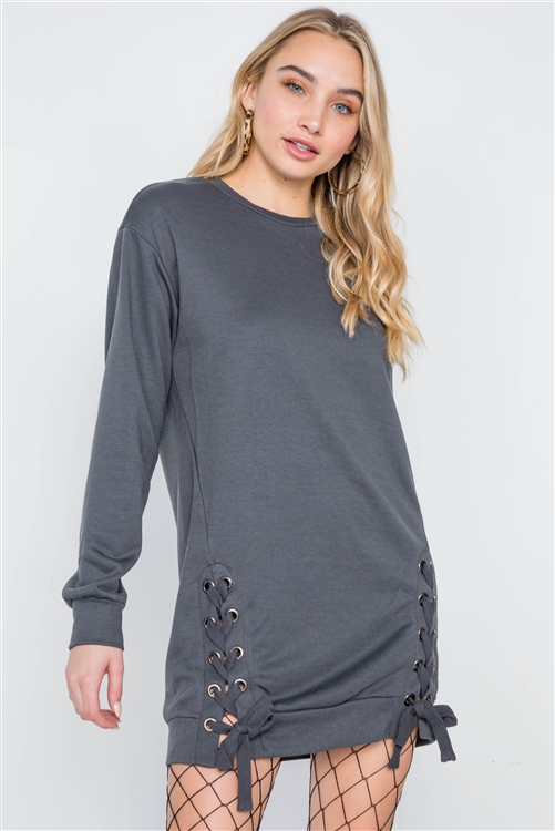 Charcoal Knit Lace-Up Long Sleeve Sweater Dress