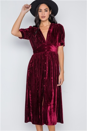 Burgundy Velvet Short Sleeve Button Down Midi Dress