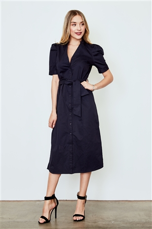 Navy Belted T-Shirt Midi Dress