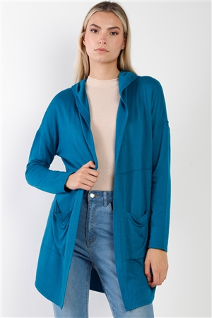 Blue Long Sleeve Open Front Hooded Cardigan