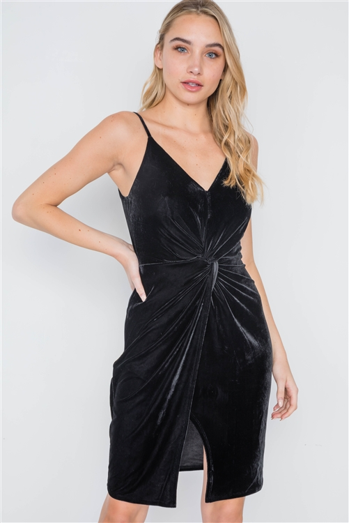 Black Cami Velvet Front Twist Evening Dress