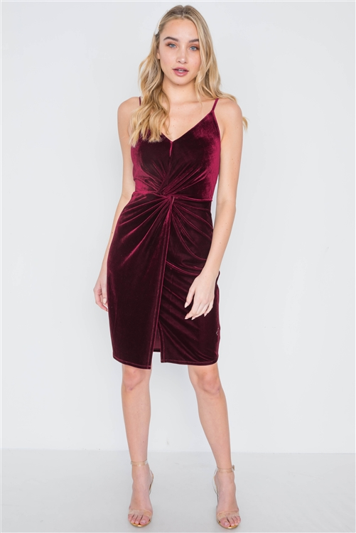 Burgundy Cami Velvet Front Twist Evening Dress