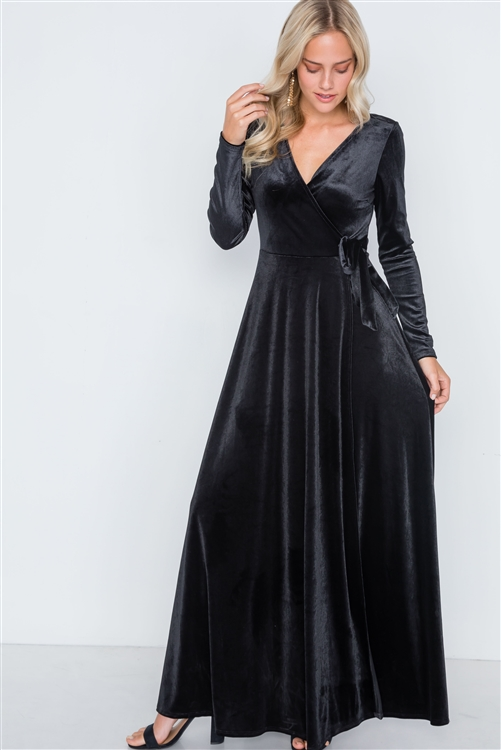 Black Velvet Surplice Neck Maxi Evening Dress
