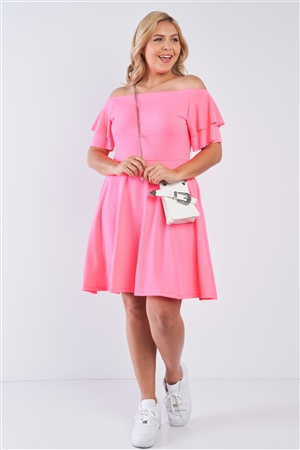 Junior Plus Size Neon Pink Off The Shoulder Tiered Sleeves Midi Dress