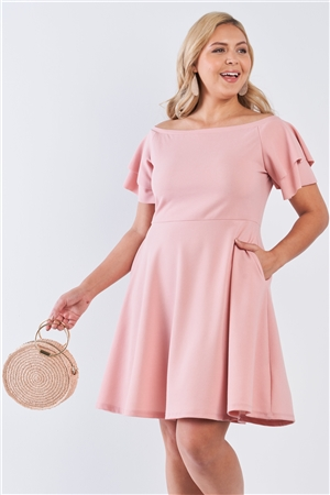 Junior Plus Size Pink Off The Shoulder Tiered Sleeves Midi Dress