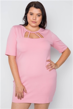 Blush Plus Size Cutout Chest Mini Bodycon Dress