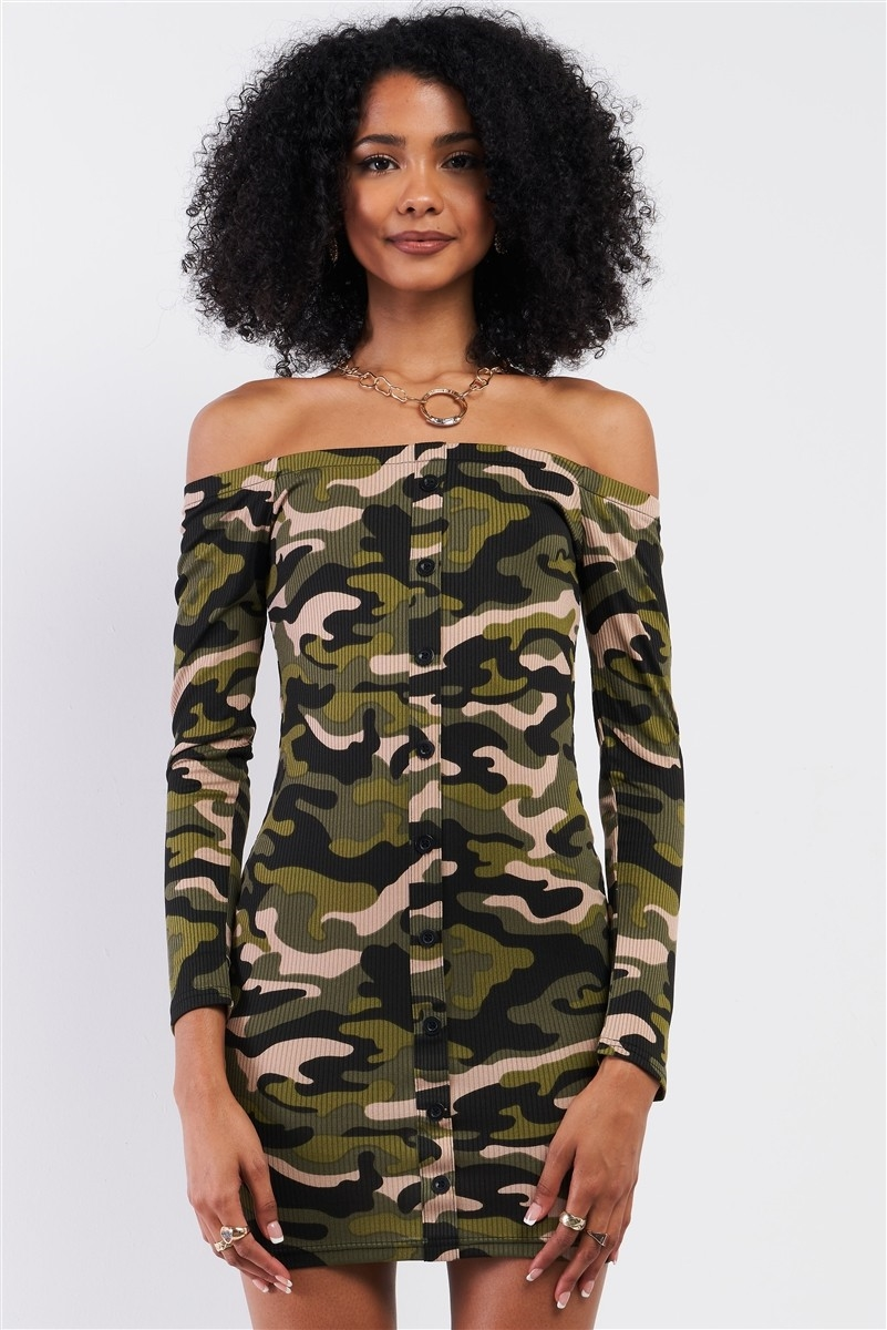 Khaki Olive Camo Ribbed Off-The-Shoulder Button Down Bodycon Mini Dress /2-2-2