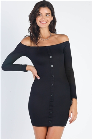 Black Ribbed Off-The-Shoulder Button Down Bodycon Mini Dress /2-2-2