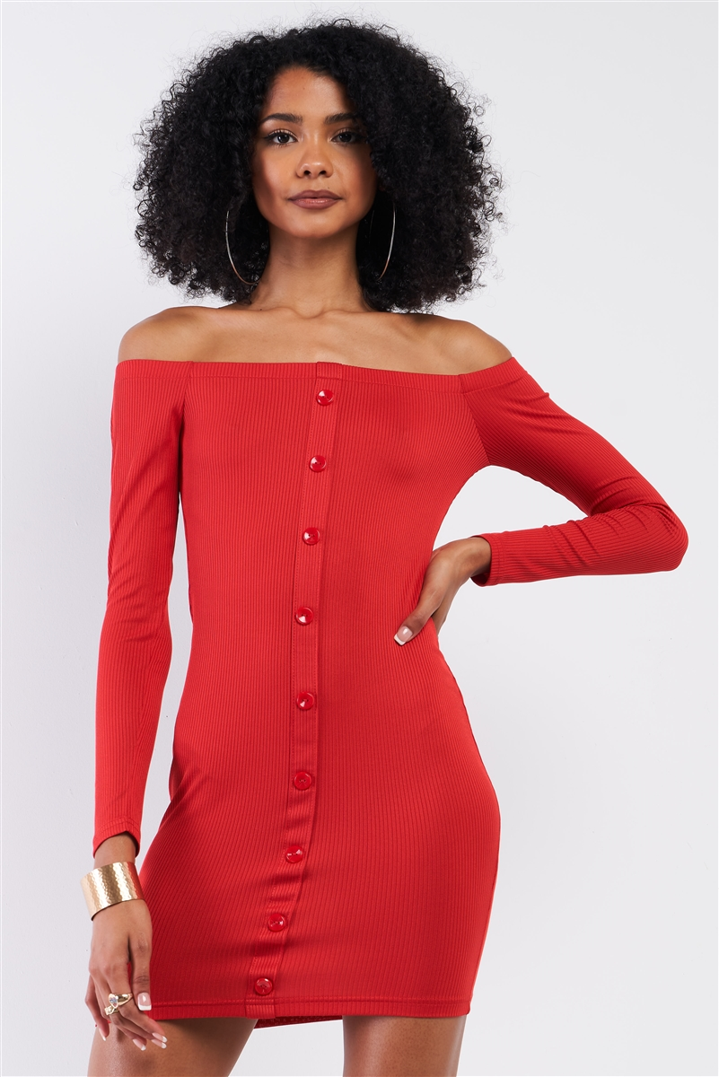 Red Ribbed Off-The-Shoulder Button Down Bodycon Mini Dress /2-2-2