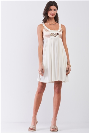 Dear Juliet White & Champagne Gold Sleeveless Embroidered Satin Detail Mini Dress /3-2