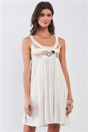 Dear Juliet White & Champagne Gold Sleeveless Embroidered Satin Detail Mini Dress /3-3