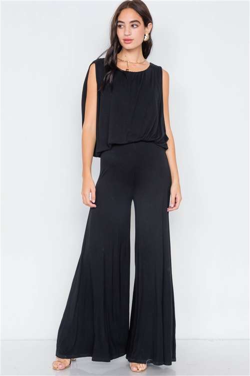 Black Mock Cape Scoop Neck Jumpsuit