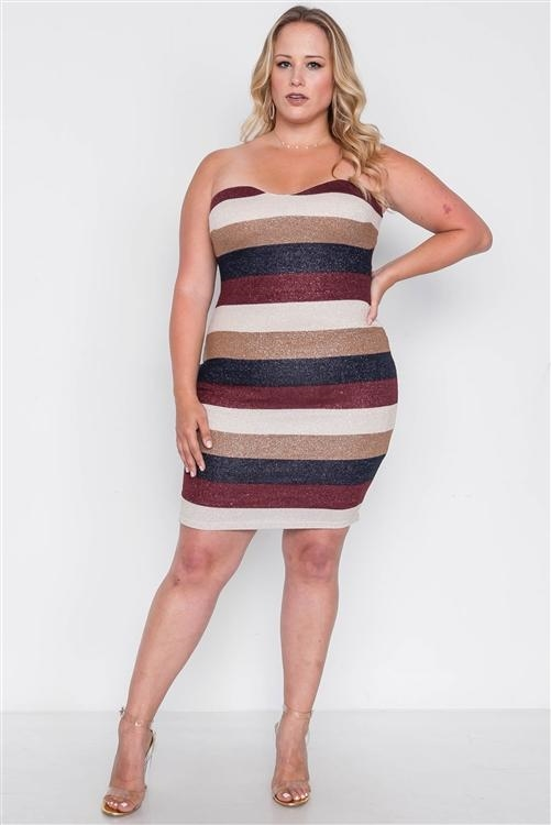 Plus Size Multi Stripe Strapless Bodycon Mini Dress