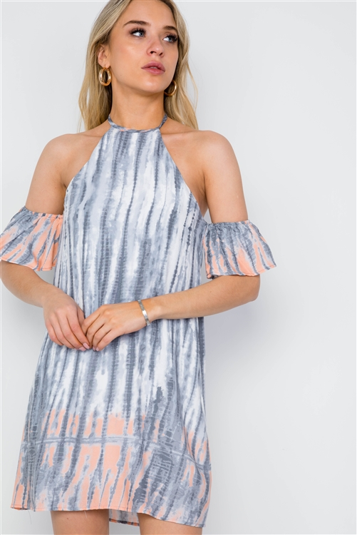 Grey Peach Tie Dye Flounce Sleeve Boho Dress