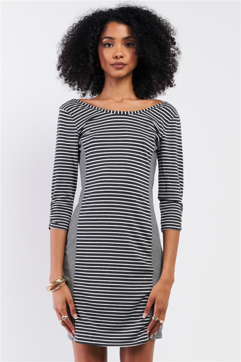 Heather Grey Multi-Striped Boat Neck 3/4 Sleeve Fitted Mini Dress /1-2-2-1