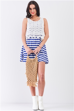White & Navy Horizontal Striped Round Neck Sleeveless Floral Embroidery Layered Top Mini Dress /2-3-1