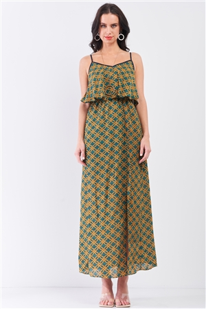 Mustard Multi Printed Sleeveless Criss-Cross Back Side Slit Detail Maxi Dress /1-3-1