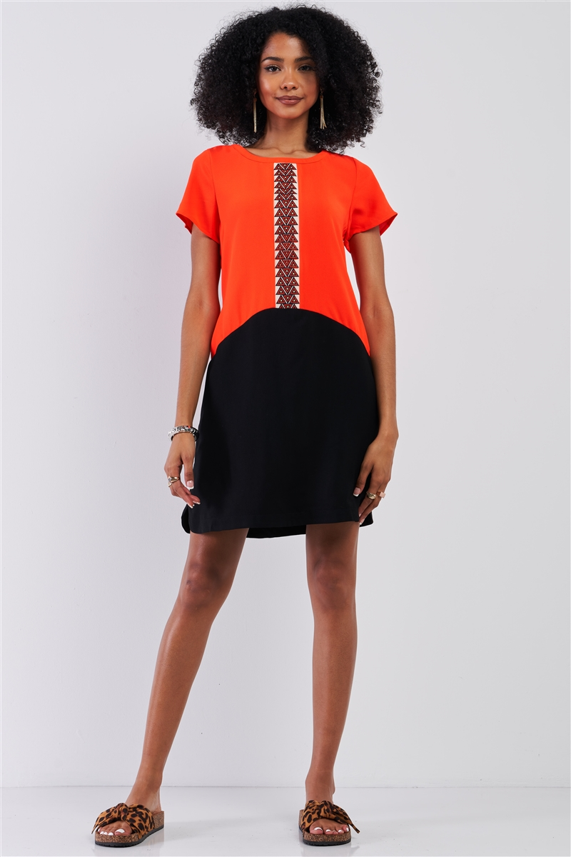 Neon Orange & Black Color Block Front Geometrical Pattern Detail Relaxed Fit Round Neck Short Sleeve Mini Dress /1-1-2