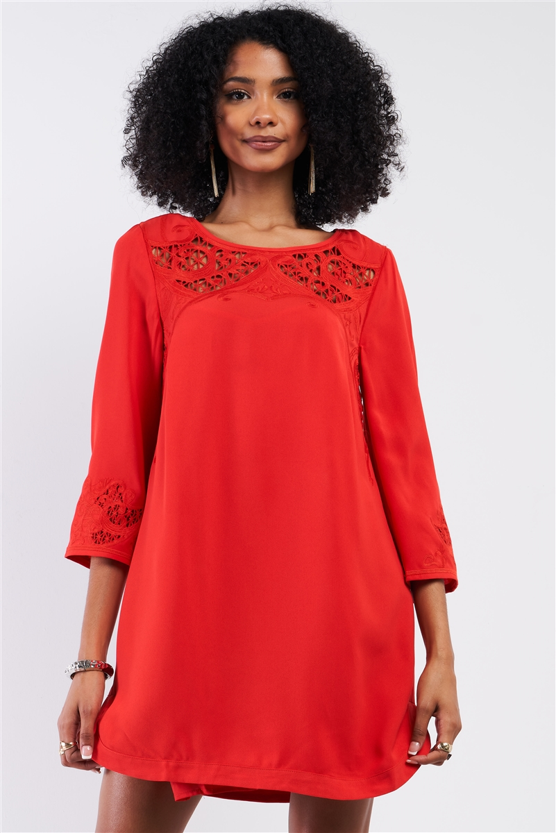 Red Crochet Embroidery Relaxed Fit Round Neck 3/4 Sleeve Mini Dress /2-3-1