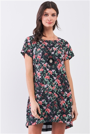 Black Multicolor Floral Print Pleated Back Detail Relaxed Mini Dress /1-2-2-1