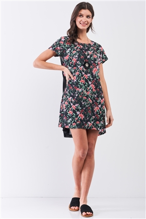 Black Multicolor Floral Print Pleated Back Detail Relaxed Mini Dress /2-1-3