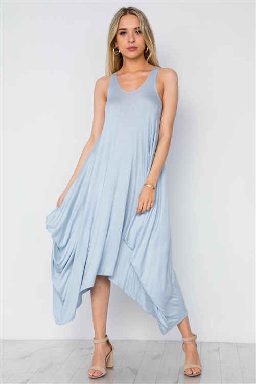 Light Blue Basic Loose Fit Sleeveless Midi Dress