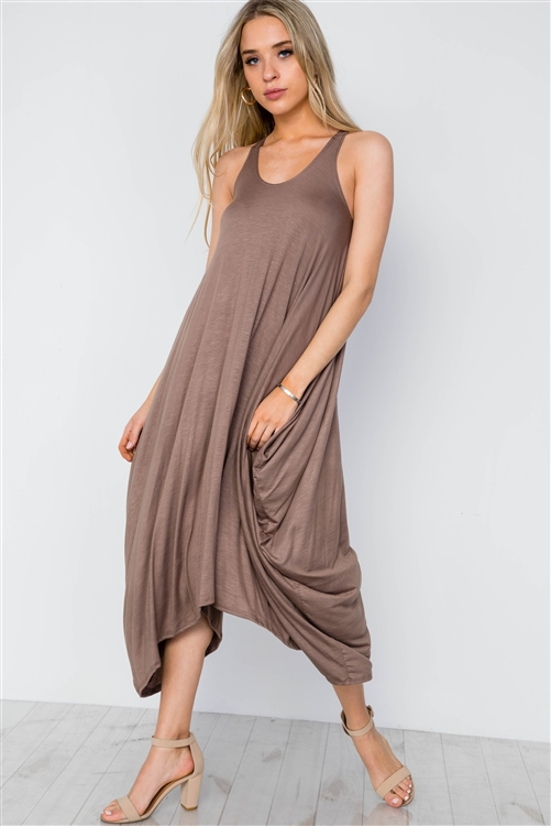 Mocha Basic Loose Fit Sleeveless Midi Dress