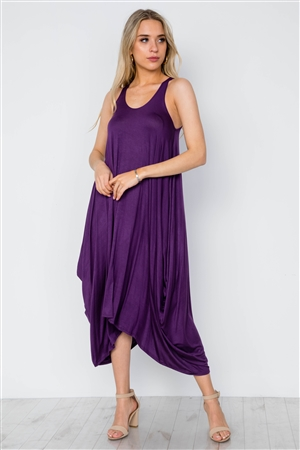 Purple Basic Loose Fit Sleeveless Midi Dress