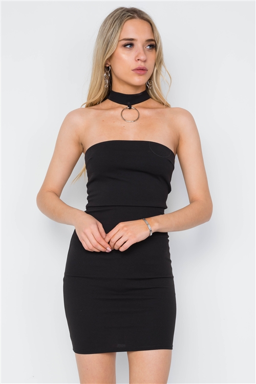 Black Bodycon Chocker Neck Mini Dress