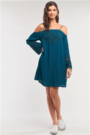Teal Green Off-The-Shoulder Flare Long Sleeve Square Neck Crochet Embroidery Mini Dress /2-1-2-1