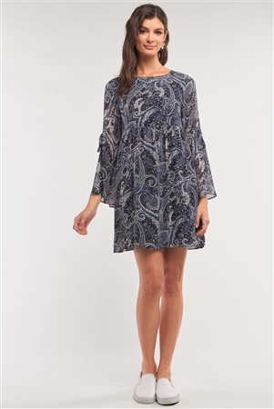 Navy Multicolor Paisley Print Loose Fit Trumpet Sleeve Self-Tie Detail Mini Dress /2-2-1