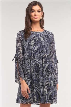 Navy Multicolor Paisley Print Loose Fit Trumpet Sleeve Self-Tie Detail Mini Dress /1-2-2-1