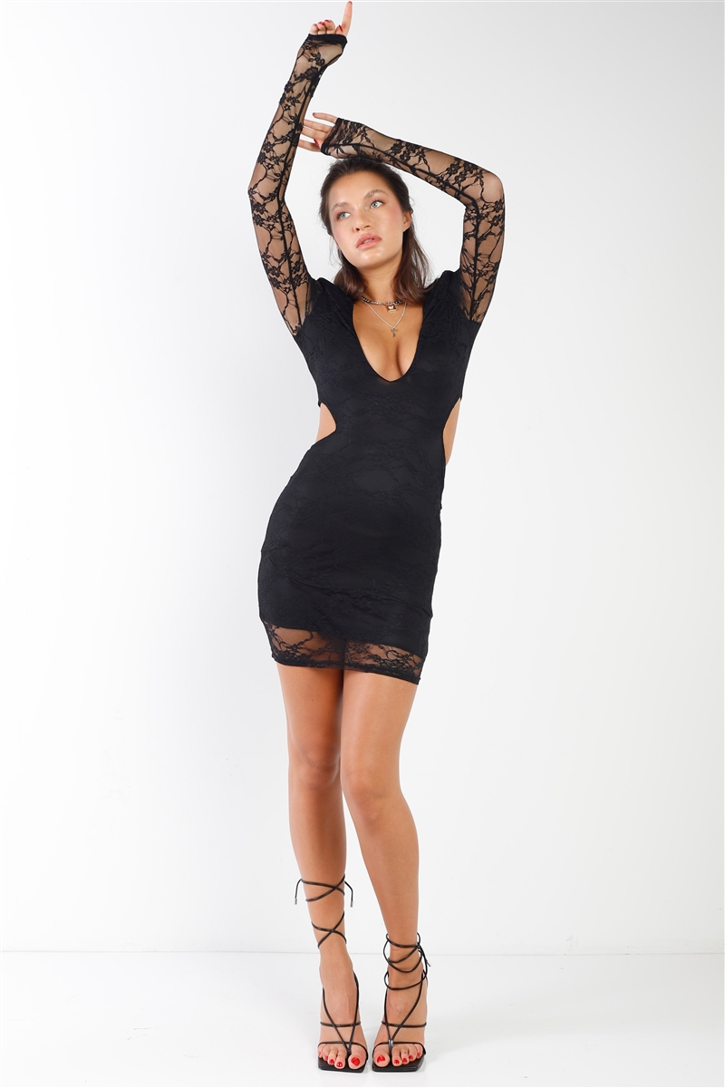 Black Floral Lace V-Neck Long Sleeve Side Cut Out Open Back Dress Mini Dress