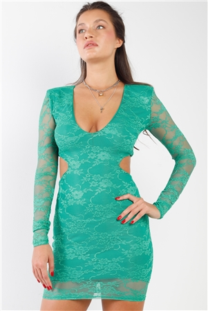 Emerald Floral Lace V-Neck Long Sleeve Side Cut Out Open Back Mini Dress