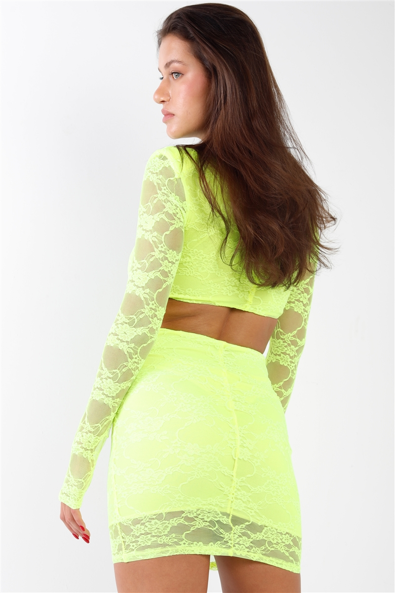 Neon Yellow Floral Lace V-Neck Long Sleeve Side Cut Out Open Back Dress Mini Dress
