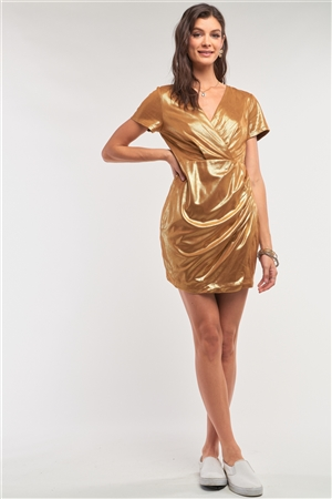 Liquid Gold Deep Plunge V-Neck Short Sleeve Wrap Gathered Side Detail Mini Dress /1-1-2-1