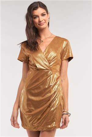 Liquid Gold Deep Plunge V-Neck Short Sleeve Wrap Gathered Side Detail Mini Dress /1-2-2-1