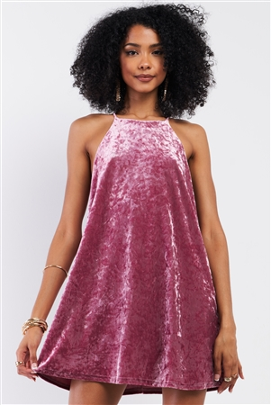 Pink Rose Velvet Square Halter Neck Mini Dress