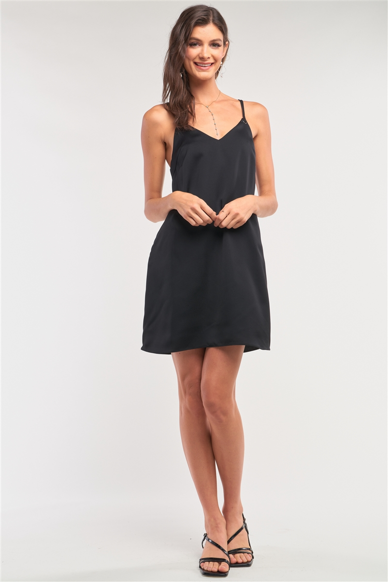 Black Satin V-Neck Loose Fit Sleeveless Razor Back Self-Tie Tassel Tip Straps Detail Mini Dress /1-2-2-1