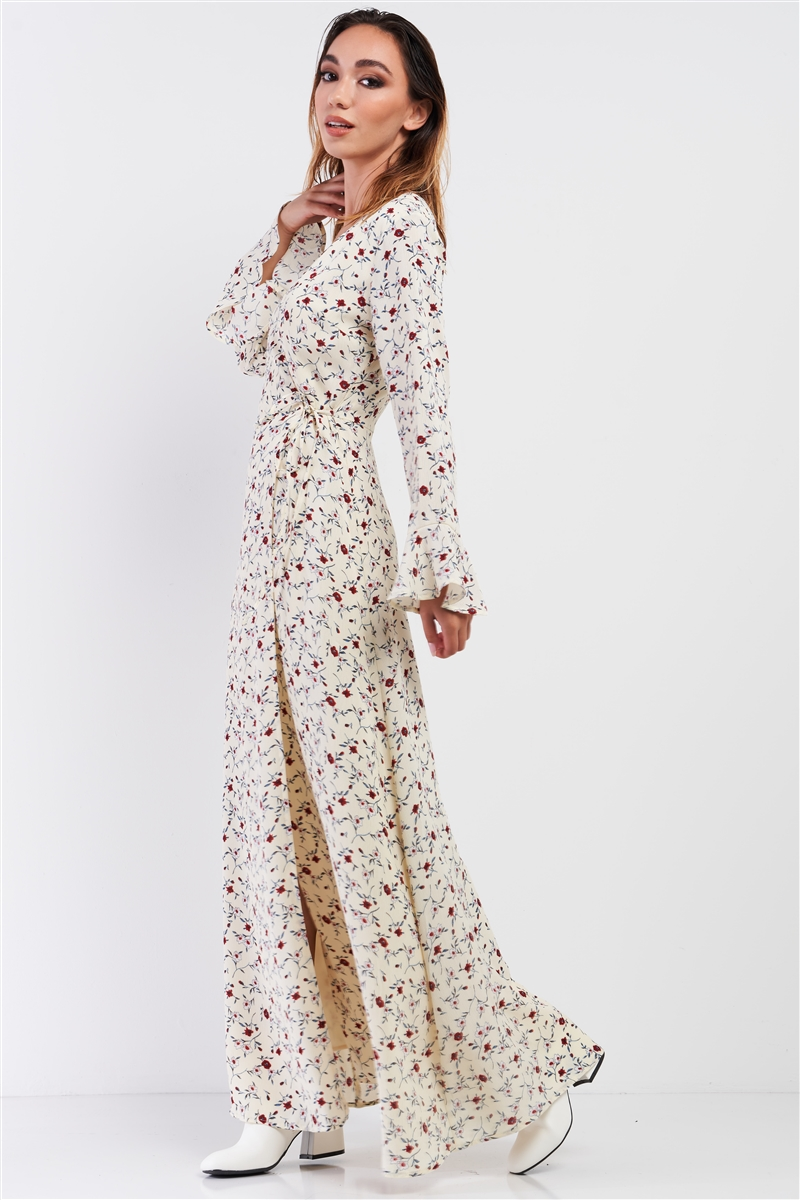 Cream Multi Floral Print Wrap Self-Tie Waist Long Sleeve Flare Hem Maxi Dress /1-2-2-1