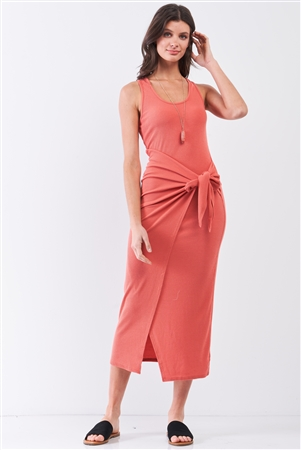 Brick Coral Ribbed Sleeveless Scoop Neck Asymmetrical Wrap Front Detail Midi Dress