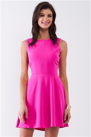 Bubblegum Pink Sleeveless Round Neck Self-Tie Lace-Up Back Detail Mini Dress /1-2-2-1