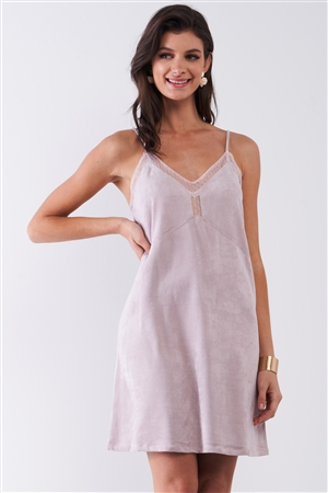Pastel Mauve Suede Sleeveless Lace Trim V-Neck Mini Dress /1-2-2-1