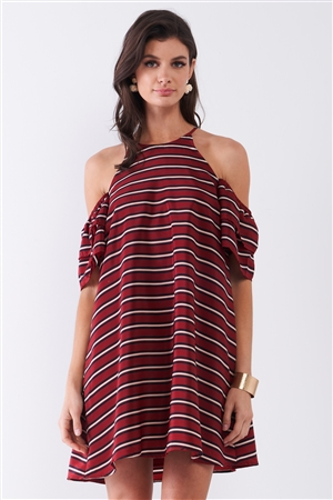 Burgundy Striped Print Cold Shoulder Puff Sleeve Racer Back Detail Relaxed Mini Dress /1-2-2-1