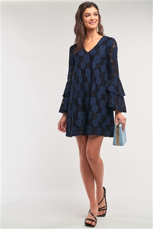 Black&Blue Long Sleeve V-Neck Lace Mesh Embroidery Layered Mini Dress /2-1-2