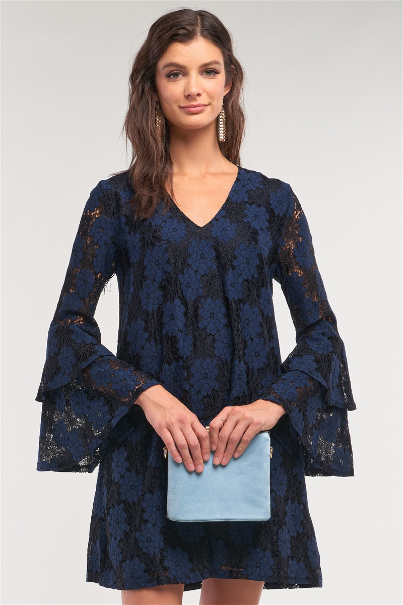 Black&Blue Long Sleeve V-Neck Lace Mesh Embroidery Layered Mini Dress /1-2-2-1