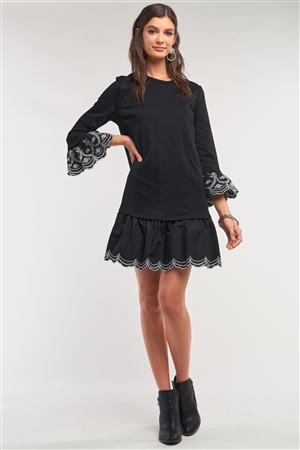 Black Crochet Embroidery Drop Waist Scallop Hem Flare Skirt Detail Long Sleeve Mini Sweater Dress /1-2-2