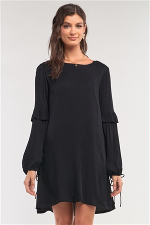 Black Relaxed Fit Crew Neck Long Frill Slit Self-Tie Sleeve Detail Mini Dress /1-2-2-1